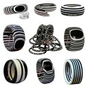 Resin Black And White Bangle Bracelet