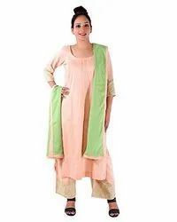 Cotton Casual Wear Women Pink Straight Pant Embroidery Ladies Kurtis