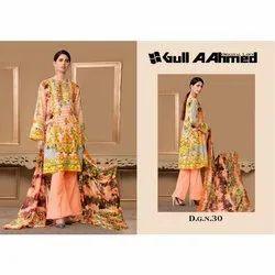 Unstitched Gul Ahmed Pakistani Lawn Ladies Suit, Size: Free