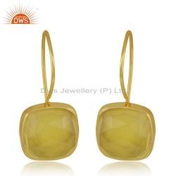 Handmade 18k Gold Plated Silver Yellow Chalcedony Gemstone Earrings