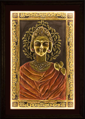 Box Frame Marble Carving On Wooden Base 3D Mural Painting, Size: 21/2 Feet X 4 Feet