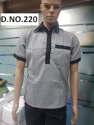 Grey Colour Restaurant Uniform With Black Border