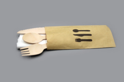 Wrapped Wooden Cutlery Pack With Napkins