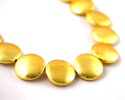 Round Disc Center Drilled Gold Plated Copper Beads