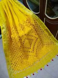 Casual Wear Ladies Yellow Linen Cut Work Sarees