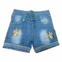 Floral Embroidered Kids Denim Shorts