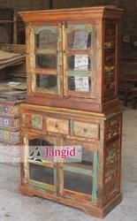 Reclaimed Wooden Glass Living Room Furniture, Size/Dimension: 98x45x185 Cms