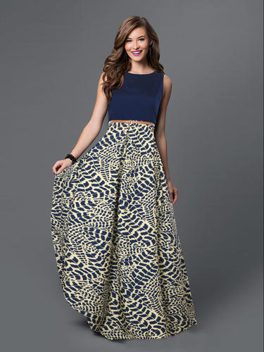 Western Party Wear Printed Gowns, Packaging Type: Bag