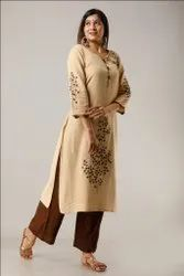 New Hand Embroidered Work  Beige Color Casual Wear Rayon Kurti with Palazzo