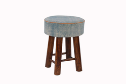 Cotton Plain Rug Upholstered Wooden Round Small Bar Stool