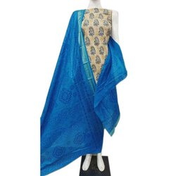 Tripta Cotton Block Printed Unstitched Salwar Suit, Dupatta Length: 2.50 Mtr