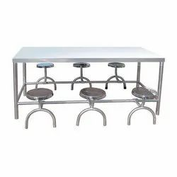 Self Silver Stainless Steel Canteen Dining Table, Size: 1800x900