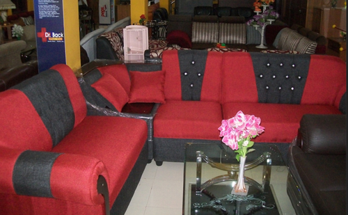 Red And Black 5 Seater Sofa Set