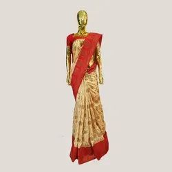 Gold & Red Banarasi Silk Saree with Blouse Piece