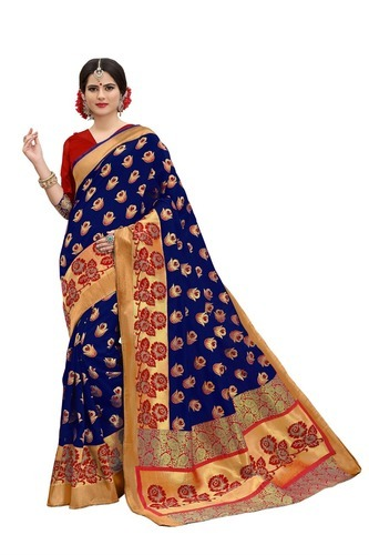 Thankar Banarasi Silk Blue & Red Heavy Saree, Length: 6.3 m