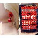 Oxidized Red Stud Earrings