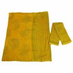 Regular Wear Unstitched Chanderi Dabu Print Suit