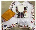 White Color Printed Neck Design Ladies Suit