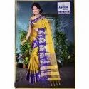 Yellow Party Wear Ladies Printed Chiffon Sarees, 6.3 m (with blouse piece)