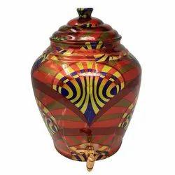 Water Matka Printed Nutristar Designer Pure Copper Pot, For Home
