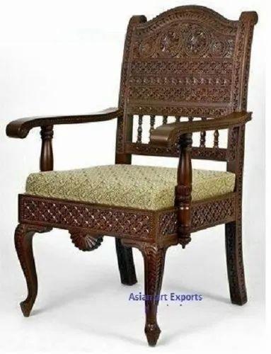Walnut Brown Royal Indian Rajasthani, Hand Carved Wood Furniture India