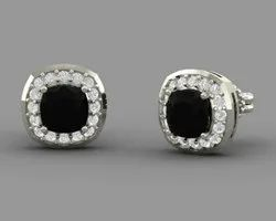 Black Onyx And Diamond Cluster Stud Earrings