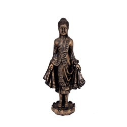 FRP Buddha Standing On Lotus 15 Inch