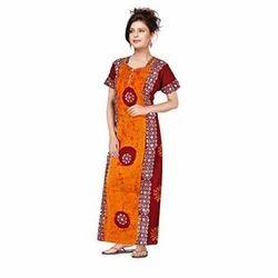 Ladies Cotton Printed Full Length Night Wear