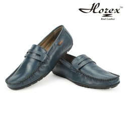 Horex Men'S Blue Loafers In Genuine Leather