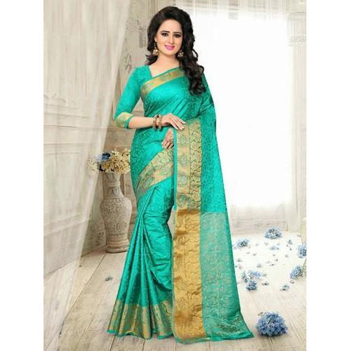 12106e43b6950 Ladies Fancy Printed Silk Saree With Blouse Piece