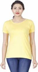 Yellow Round Neck Half Sleeves T Shirt