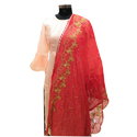 Red Embroidered Dupatta