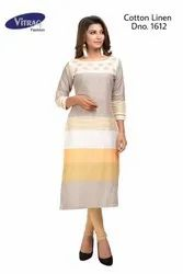 Party Wear Vitrag Cotton Linen Casual Printed Kurti with Embroidery