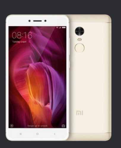 Gold Mi Note 4 Mobile Phone