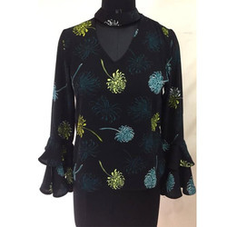 Ladies Black Printed Top