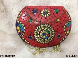 Red Stone Mosaic Clutch