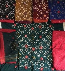 Unstitched Bandhej work suits