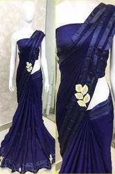 Floral Print Georgette Blue Saree