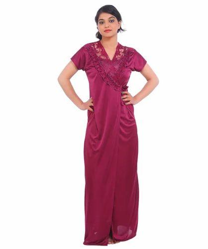 760d56ace3 Fasense Satin Full Length Nighty   Robe Set