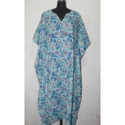Indian Hand Block Print Women's Party Wear Cotton Kaftan Dress