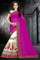 Purple And Beige Color Designer Half And Half Georgette Saree