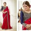 Georgette Border Saree With Blouse