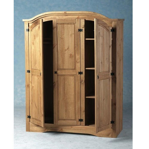 Brown Teak Wood Triple Door Wooden Wardrobe, for Hotel