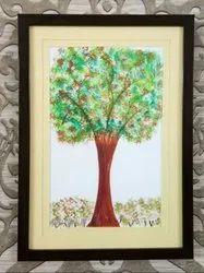 Paper Wood Look Tree Of Life Handmade Wall Painting