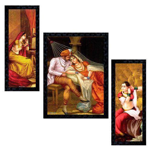 Set Of 3 Modern Art Rajasthani Framed Wall Painting Ptu573