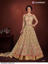 Long embroidery gown suits