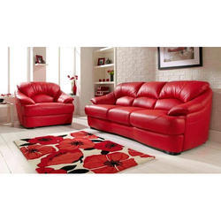Red Leather Sofa Set