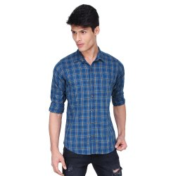 Blue Cotton Full Sleeve Shirt