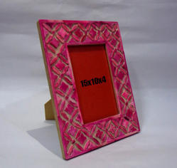 Pink Bone Hand Carved Picture Frame