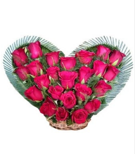 24 Ravishing Red Roses With Heart Shaped Bouquet